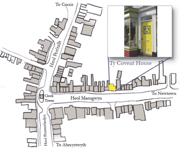map showing covent house in machynlleth